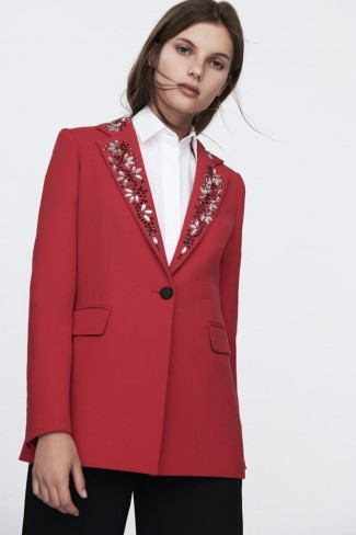 RED EMBROIDERED LAPEL JACKET  NEREA